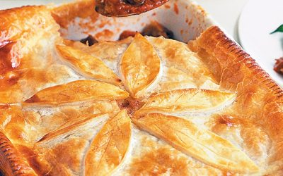 Beef and potato puff pastry pie